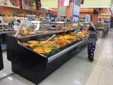 Ventilador de refrigeración fijo curvado puerta de vidrio en la parte frontal Deli Display Refrigerador para carnicería / supermercado