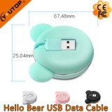 Nuevo oso 2 del hola en 1 cable de datos del USB para el iPhone/el androide