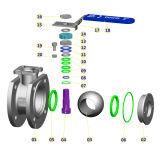 Vávula de bola fina del acero inoxidable con la pista y la maneta de la ISO 5211
