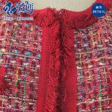 Cappotto lavorato a maglia trionfante rosso delle signore di modo delle caselle