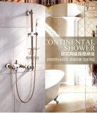 2016 Nuevo diseño de doble asa de cerámica ZF-605-1 latón antiguo Juego de ducha de lluvia
