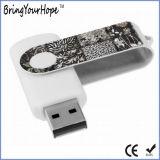 USB branco do giro da cor com logotipo de Customed (XH-USB-001)