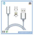 Neuestes Nylon flocht magnetisches Kabel USB-2 in-1 für iPhone und Typen-c