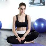 A ginástica seca da parte superior da ioga das mulheres rapidamente desgasta o sutiã dos esportes atléticos