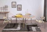 Sechs Sets marmorn Speisetisch mit den Stahlbeinen