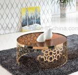 Tavolino da salotto di vetro speciale dell'acciaio inossidabile di Rosegold di disegno (CT098L)