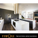 Самомоднейшие черные шкафы кладовки кухни /White с конструкцией Tivo-0142h острова
