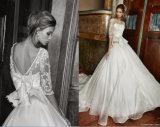 Линия платье венчания сатинировки Organza задней части v с длинними втулками