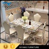 Tabela de jantar de mármore moderna com frame de aço inoxidável