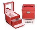 方法デザイン赤いのどの革宝石箱