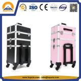Schwarzer rosafarbener mehrschichtiger Aluminiumlaufkatze-Kasten (HB-6334)