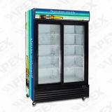 Refrigerador de vidro vertical da bebida da porta do supermercado