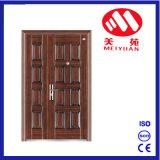 Porte en acier bon marché de fer de doubles portes de type de mode pour l'extérieur