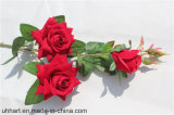 결혼식을%s 3 헤드 우단 옷 로즈 도매 인공 꽃