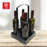 4 Carrier van de Wijn van flessen de Draagbare voor de Opslag van de Vertoning van de Wijn van het Metaal