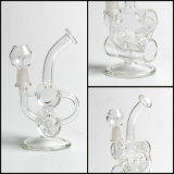 Hfy Glass Hitman Glass - Bébé Double Barrel Glass Water Pipe Recycler Vapor Rig Oil Rig