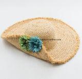 Chapéu bonito da viseira da praia da palha do Raffia bonito com Decrate da flor (CPA_90060)