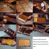 Caja completamente hecha a mano del cuero de la artesanía de la venta al por mayor Bulid-en caso de la cubierta completa