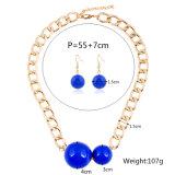 Jeu réglé de bijou de collier de foulard de boucle d'oreille de mode de perle de 2 PCS grand