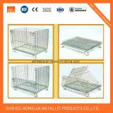 Jaula/cesta plegables resistentes del almacenaje de alambre de metal del compartimiento del vaciado para el supermercado