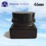 опарник 50ml темный Brown стеклянный Cream с упаковывать глянцеватой черной алюминиевой крышки косметический