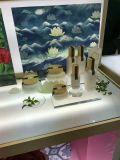 Kundenspezifischer AcrylCosmeic Organisator, Lucite-Plexiglas-Raum-kosmetische Ausstellungsstände mit Firmenzeichen-Drucken, transparente Kosmetik