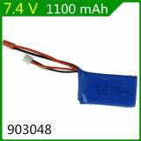 7.4V Batterij 903048 van Lipo van de Auto van de Snelheid van Wltoys van de Stop van Jst van de Batterij van het Lithium van de Vliegtuigen 7.4V 1100mAh van de Afstandsbediening van 1100mAh A949