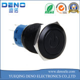 Shell del metal que traba el interruptor de pulsador con el anillo azul del LED para el orificio de 16m m