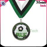 試供品の低価格の柔らかいエナメルの銀の円形のアフリカのカスタムフットボールメダル