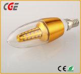 bulbo de la vela de la iluminación de 3.5W SMD LED con la lámpara de cola larga