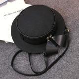 肩のハンドバッグのかわいい帽子の女の子の袋党弓黒いPUストラップSy8173が付いている円形のCrossbody袋