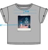 Slub novo impresso camisa da forma T das meninas