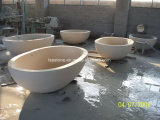 Mano de piedra tallados independientes de bañera