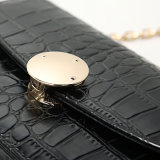 Black Crocodile Pattern Metal Buckle PU Handbag (A030)