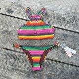 Bunter Badebekleidung Afrian Druck-heißer Geschlechts-Bikini der Form-Xxx geöffneter