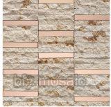 Mosaïque de marbre normale mélangée d'acier inoxydable pour le matériau de construction (FYSM084)