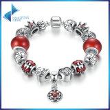 Antiker Blumen-Anhänger u. rote Raupen, Stern-Kronen-Charme-Armband-Schmucksachen
