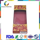 Fábrica al por mayor de 300g Papel recubierto mate en 1c impresión caja de cosméticos para los ojos pluma con sello de oro caliente