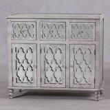 Mesa de console de madeira espelhada branca antiga