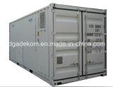 コンテナに詰められたシステムオイルはねじ空気圧縮機(KCCASS-45*2)を注入する