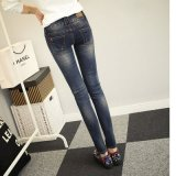 Slim Fit High Waisted der Dame Baumwollspandex-Drucken-Jeans