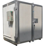 Revestimento eletrostático do pó que cura o sistema do forno