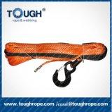le câble électrique synthétique de treuil d'outil manuel de 11mm*30m avec le crochet 1m d'élévateur de l'oeil 3t protègent la cosse d'acier inoxydable de chemise, le blocage d'extrémité de nez pour avertissent le treuil