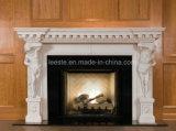 Cheminée en pierre de marbre beige / jaune / blanc à haute qualité