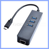USB 3.1 Typ-c zu RJ45 Ethernet LAN Adapter mit 3 Port USB2.0 Hub für MacBook