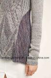 Пуловер свитера втулки женщин с капюшоном длинний с карманн (W17-778)