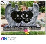 Granit noir de la Chine découpant l'ange avec le double coeur