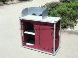 Aluminiumqualität, die beweglichen doppelte Tür-Lager-Küche-Tisch mit Windfang (QRJ-T-004, faltet)