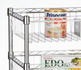 Überraschendes Houseware 3-Tier Chrome Powder Coated Wire Rack 4 Baskets Shelf Trolley (600*350*1200 mm)