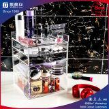 De acryl Kosmetische Doos van de Houder van de Organisator van de Make-up van Lippenstiften met 4 Verwijderbare Laden